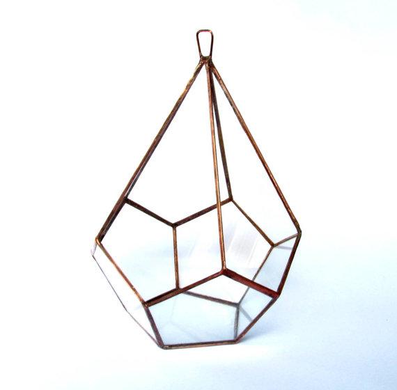 Glass and copper terrarium