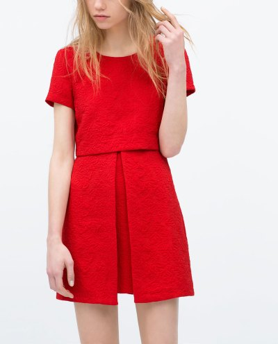 Zara red jacquard dress