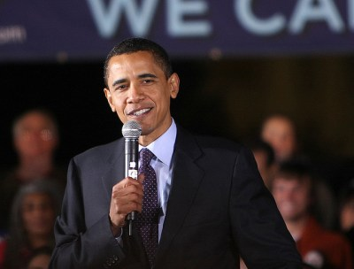 Barack Obama with microphone