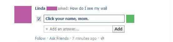 Mom Facebook wall fail