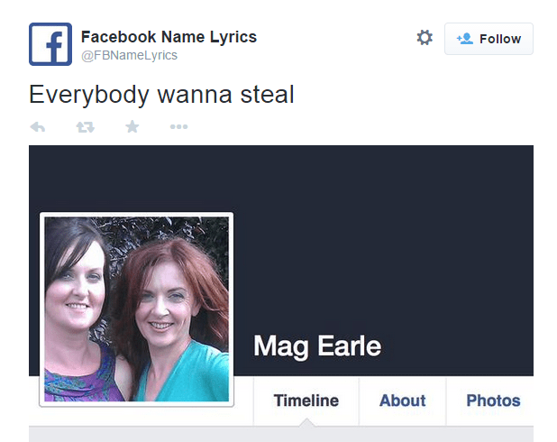 Funny Twitter Account Of The Day: Facebook Name Lyrics