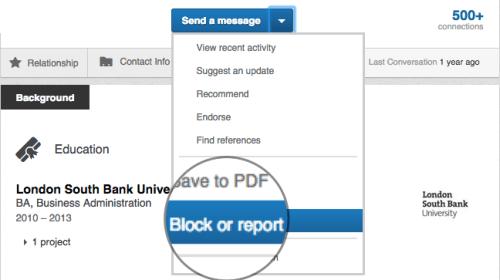 LinkedIn block or report
