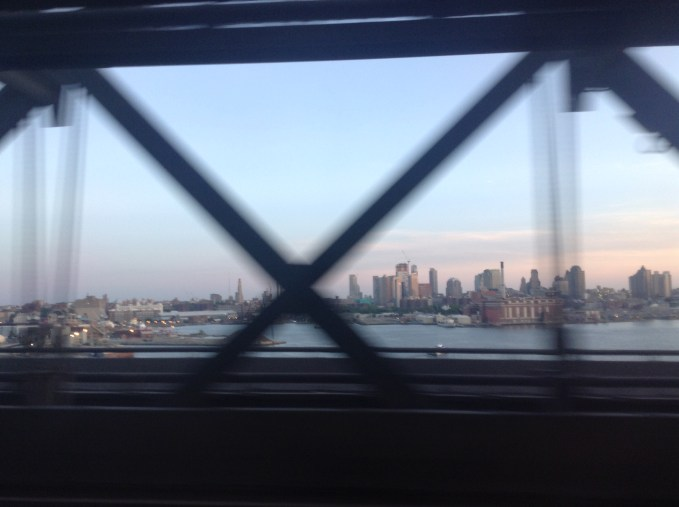 An evening glimpse of Manhattan from Williamsburg Bridge