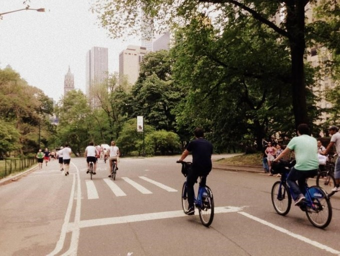 The main pathway in Central Park is shared by pedestrians, vehicles and cyclists alike.