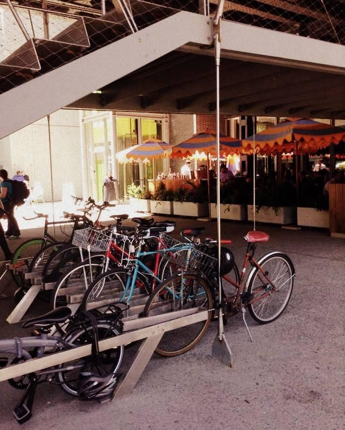 Bicycle racks at the southern entrance to the High Line in the Meatpacking District.