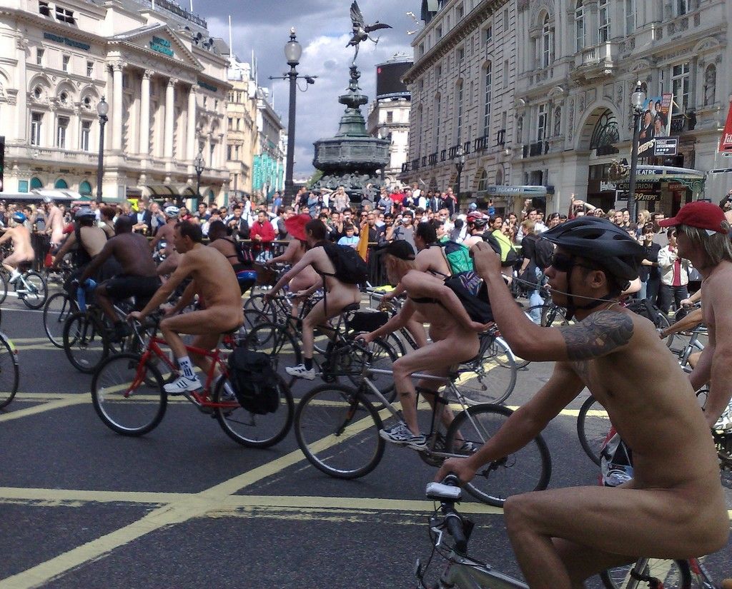 The World Naked Bike Ride sees thousands take to the streets each year, starkers. [photo credit: Paul-in-London, Flickr]