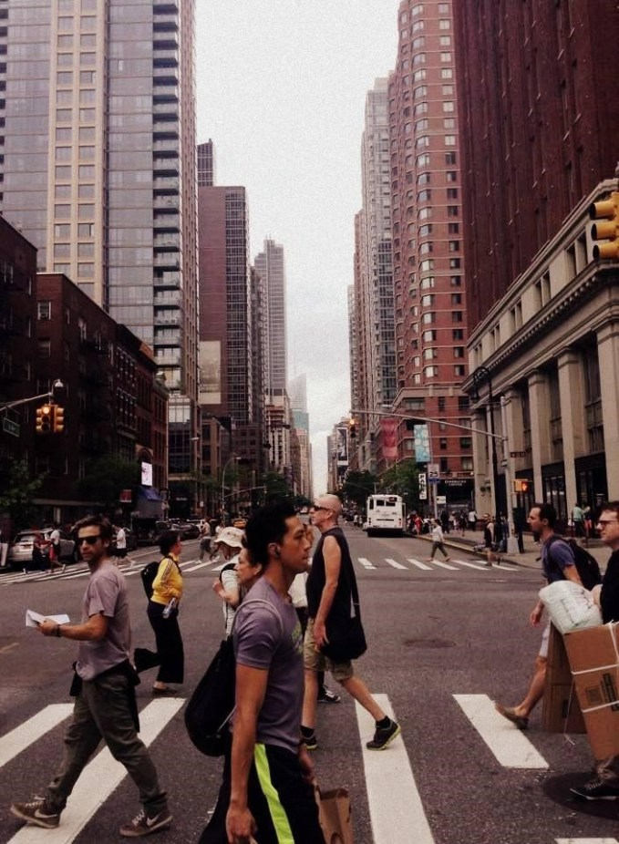 Sixth Avenue, or Avenue of the Americas, cuts right through Manhattan and often has heavy traffic.