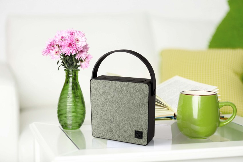 Bluetooth speaker from KitSound. Looks a bit like a handbag crossed with an old fashioned transistor radio
