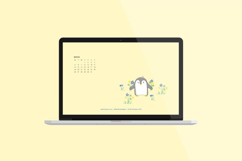 Penguin in the springtime for the March 2018 desktop download