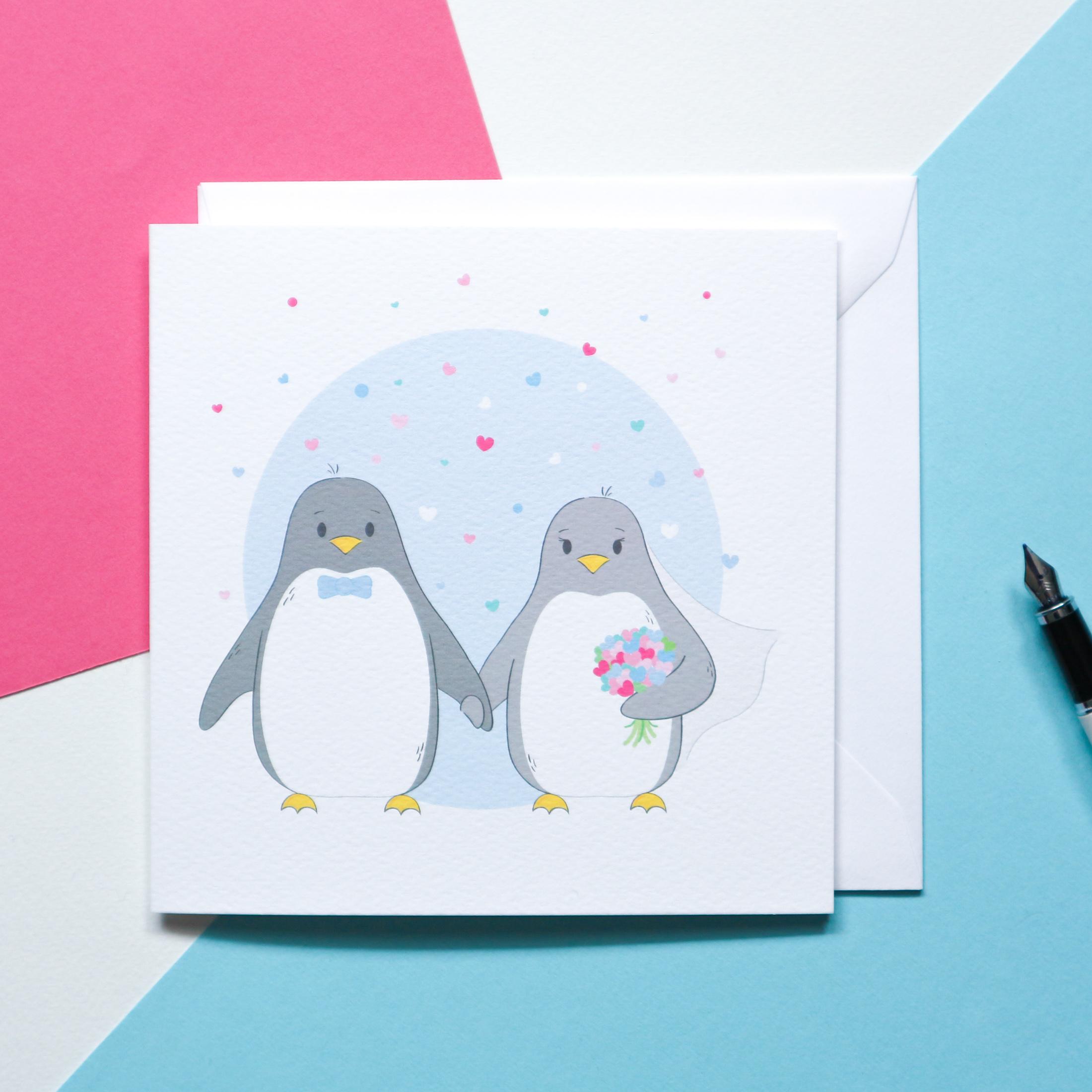 Sian Shrimpton Penguin Wedding Card