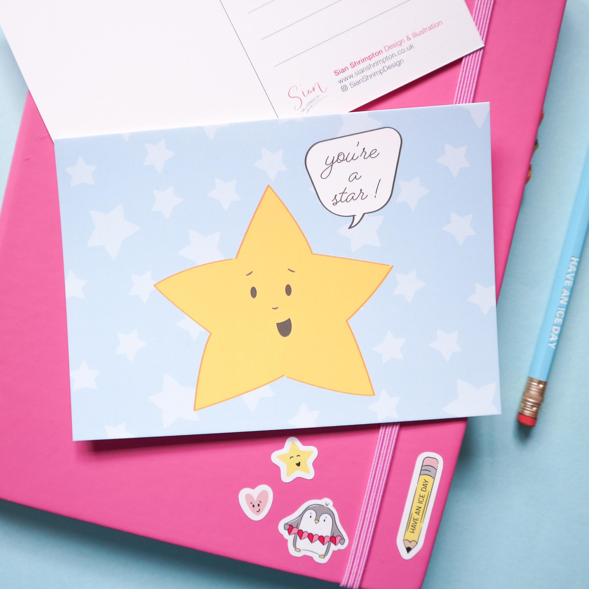 You're a Star Postcard Design by SianShrimpDesign