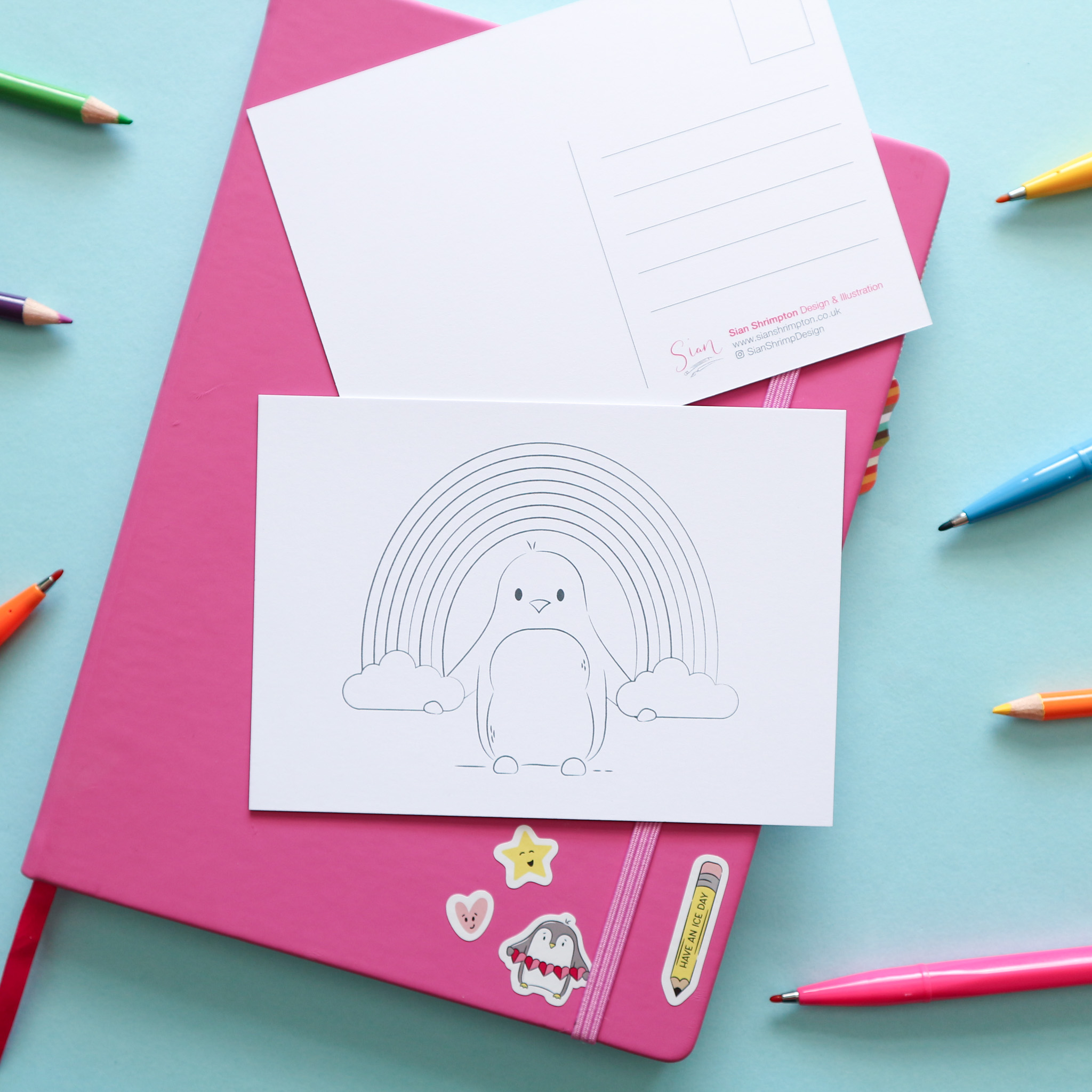 Postcard design showing an illustration which is un-coloured, to be coloured in by you or the recipient. This design shows a penguin holding a rainbow.