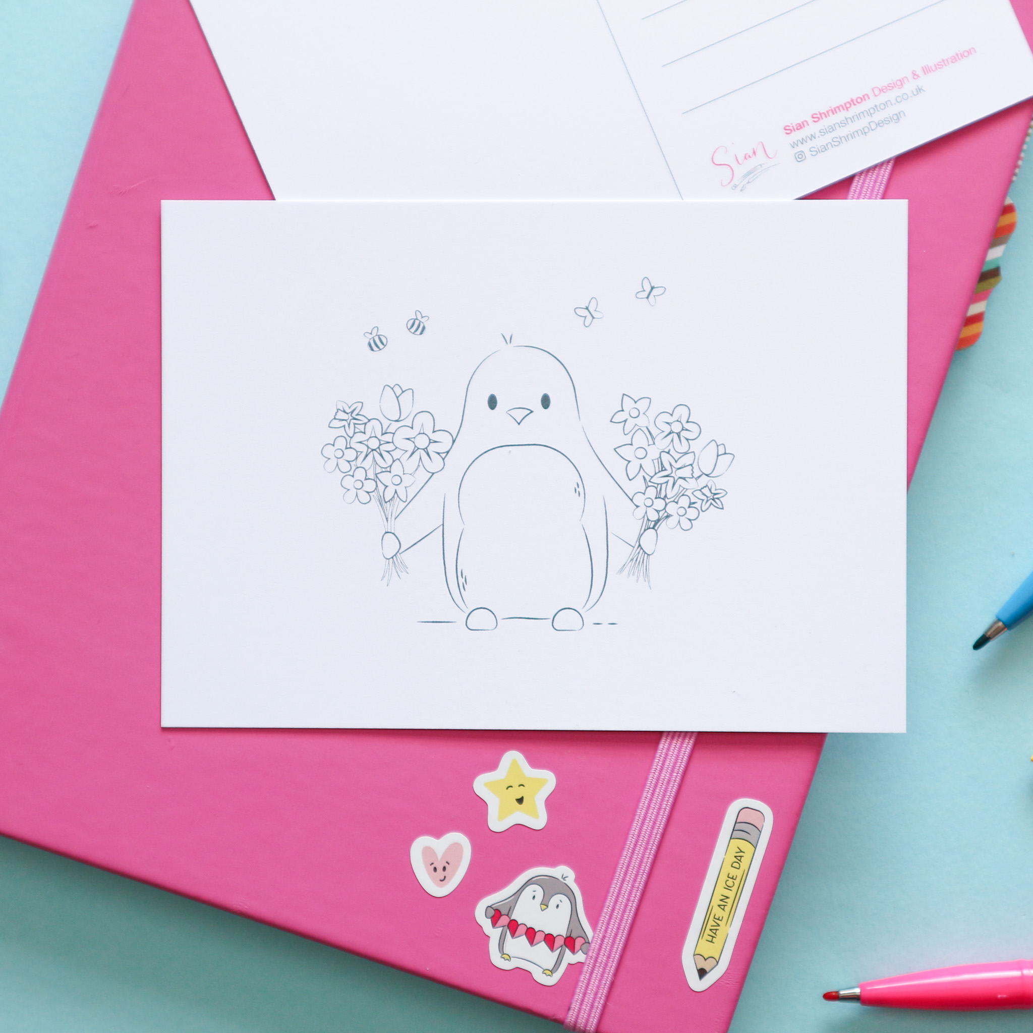 Postcard design showing an illustration which is un-coloured, to be coloured in by you or the recipient. This design shows a penguin holding two bunches of flowers.