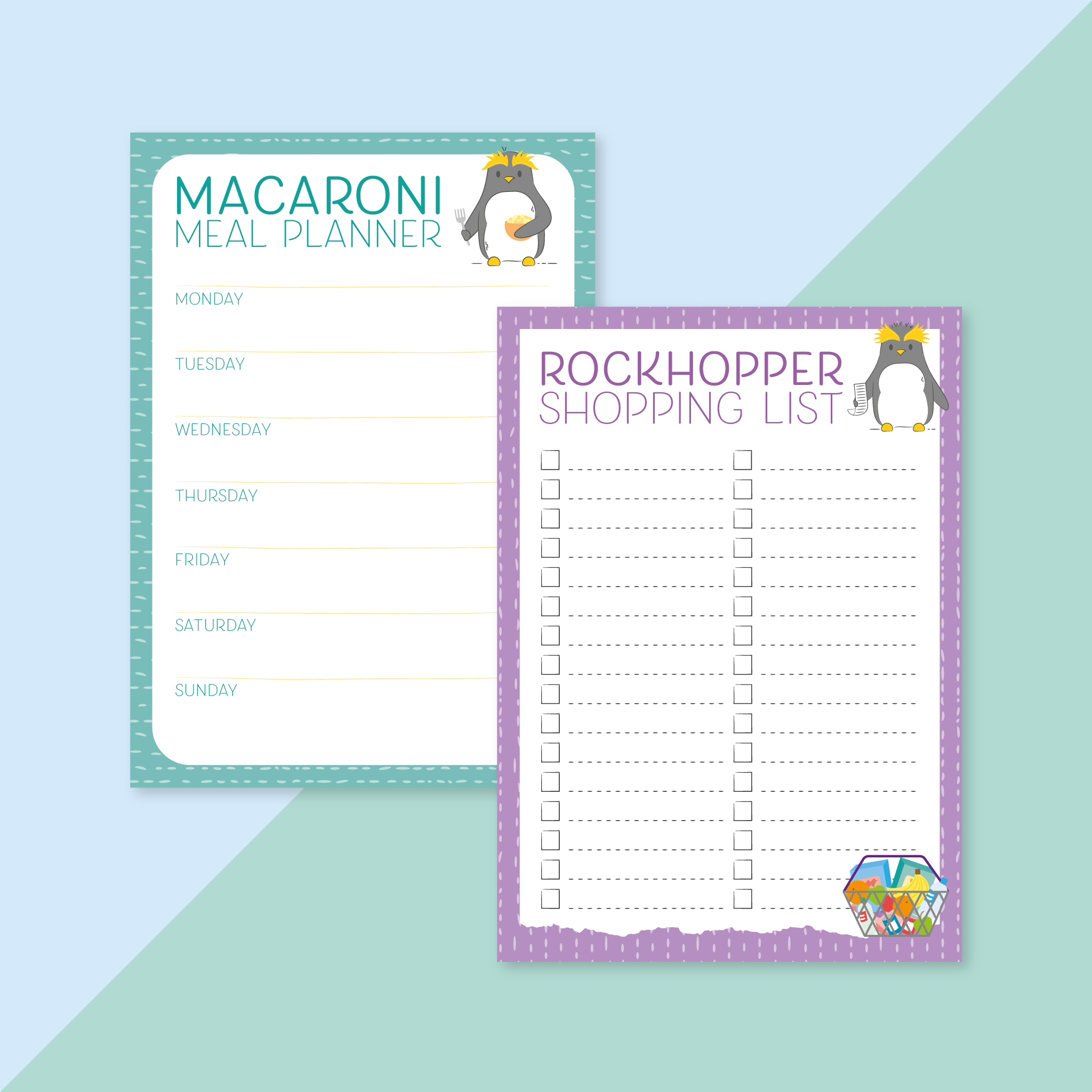 An image of a set of 2 notepads: the macaroni meal planner and the rockhopper shopping list.