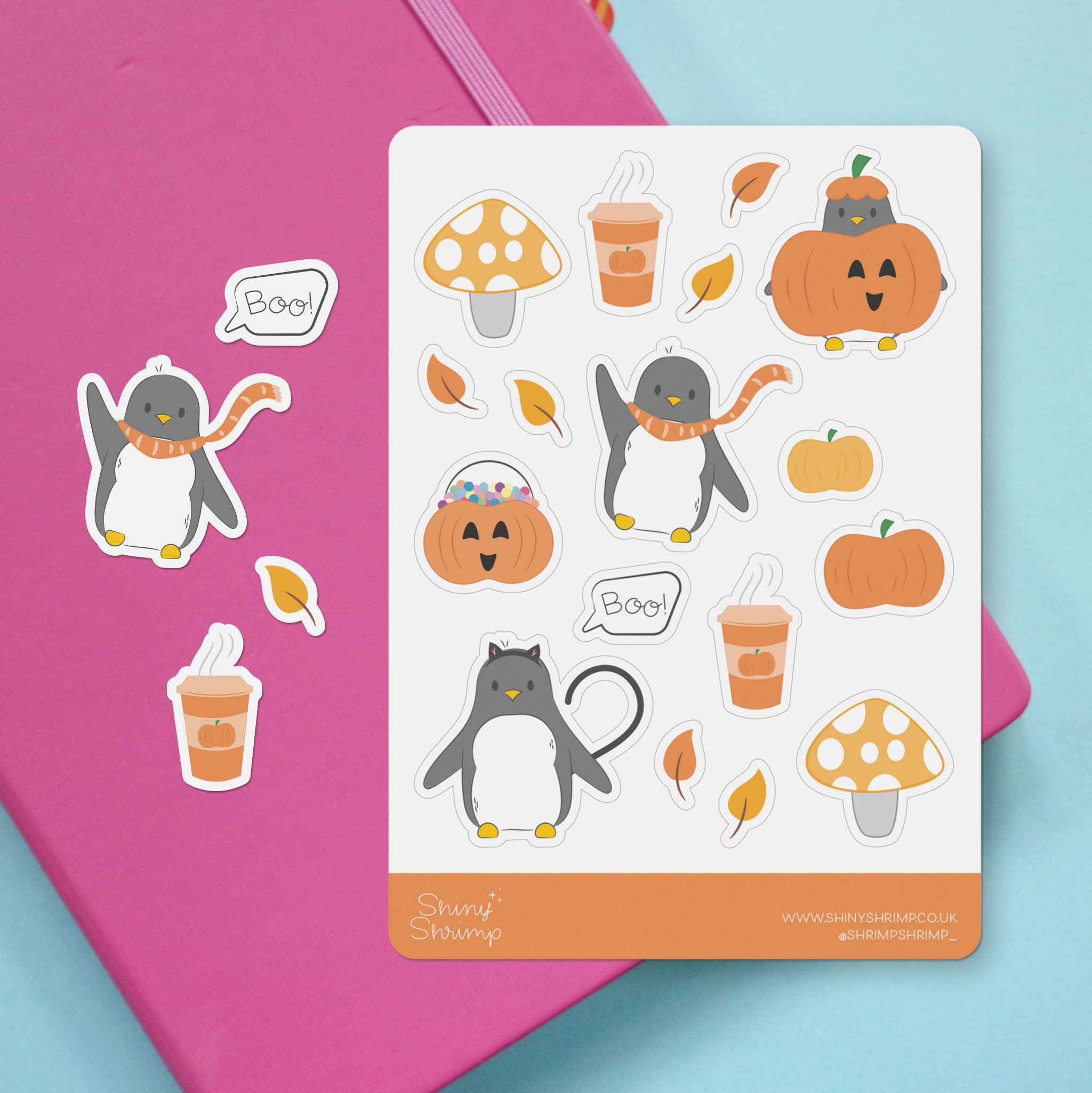 A sticker sheet with a selection of cute autumn and halloween themed penguin illustrations.