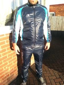 Men's Champion Shiny Tracksuit Blue Front