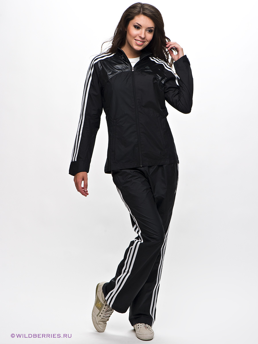 Shiny Adidas Performance Tracksuit Black with White Stripes Front View