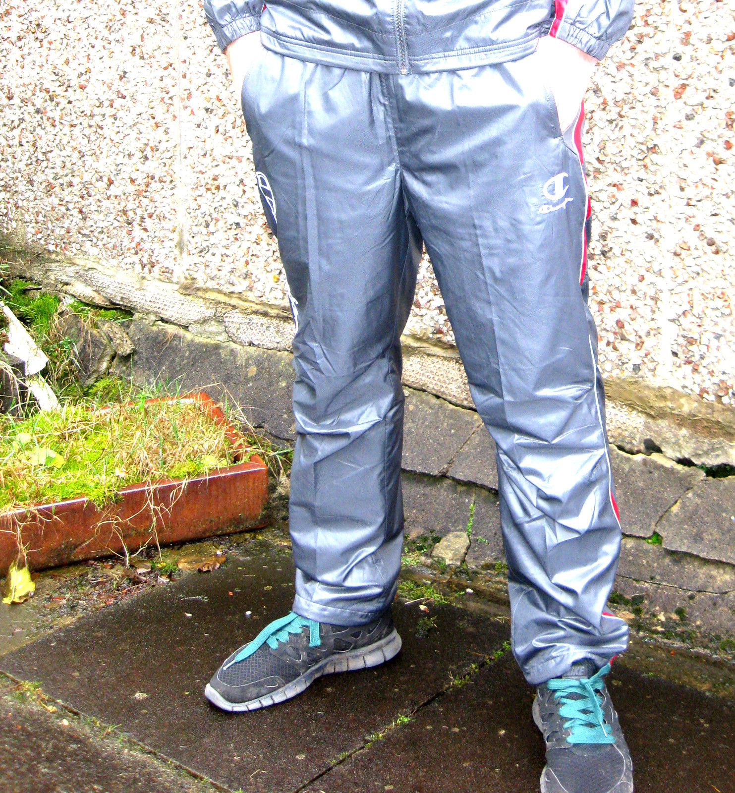 Shiny Champion Trackpants in Gray Front View