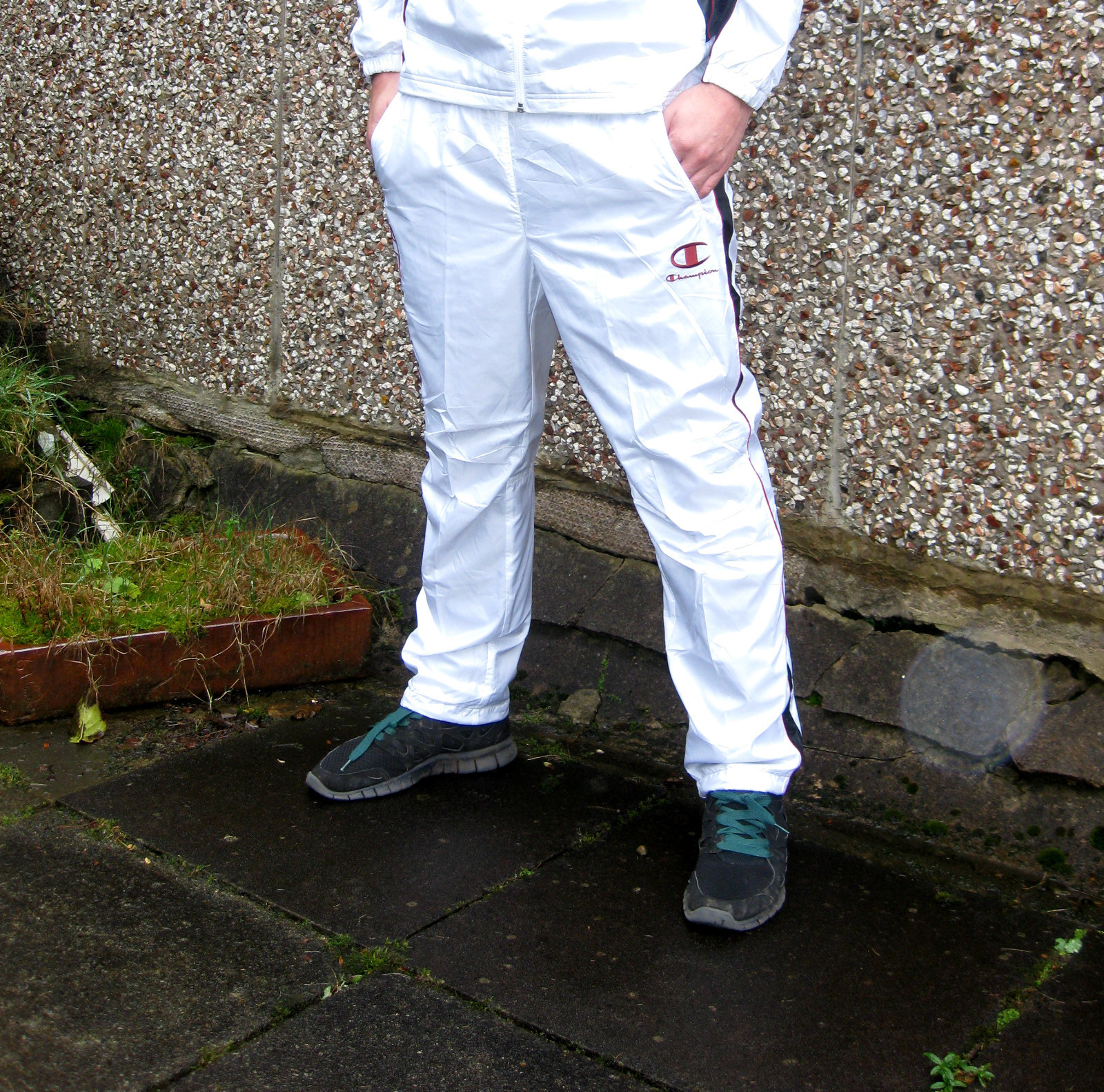 Shiny Champion Trackpants in White Front View