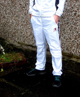 Shiny Champion Trackpants Front in White