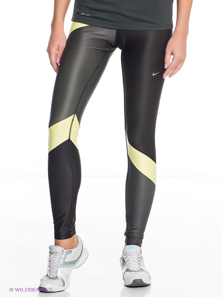 Nike Shiny Leggings Low View in Black