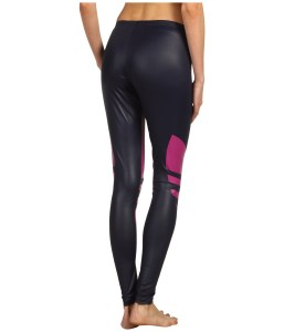 Shiny Adidas Liquid Leggings Black & Pink Back View