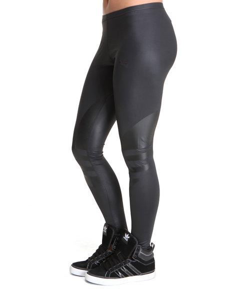 Shiny Adidas Liquid Leggings in Black Side View