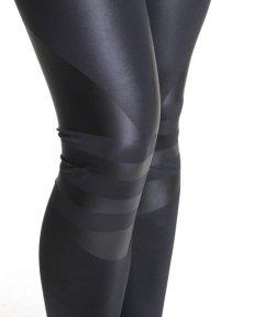 Shiny Adidas Liquid Leggings in Black Close Up