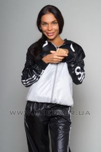 Black and White Shiny Tracksuit from Adidas Close up
