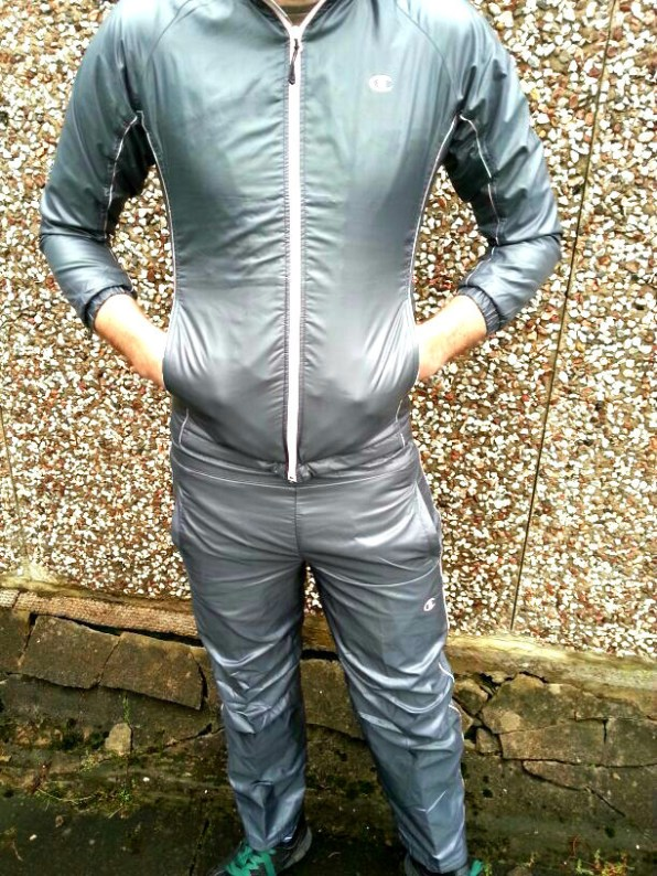 Men's Gray Champion Tracksuit Front View