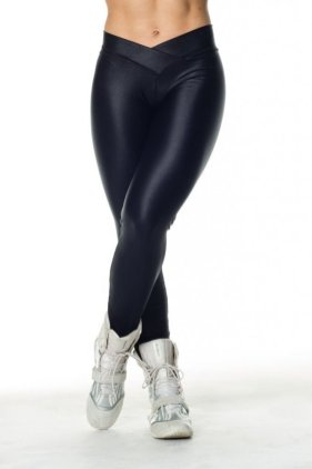 Shiny Workout Tights Legs Crossed