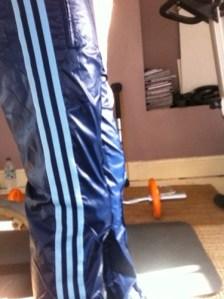 Blue Cal Surf Shiny Pants Side Close Up