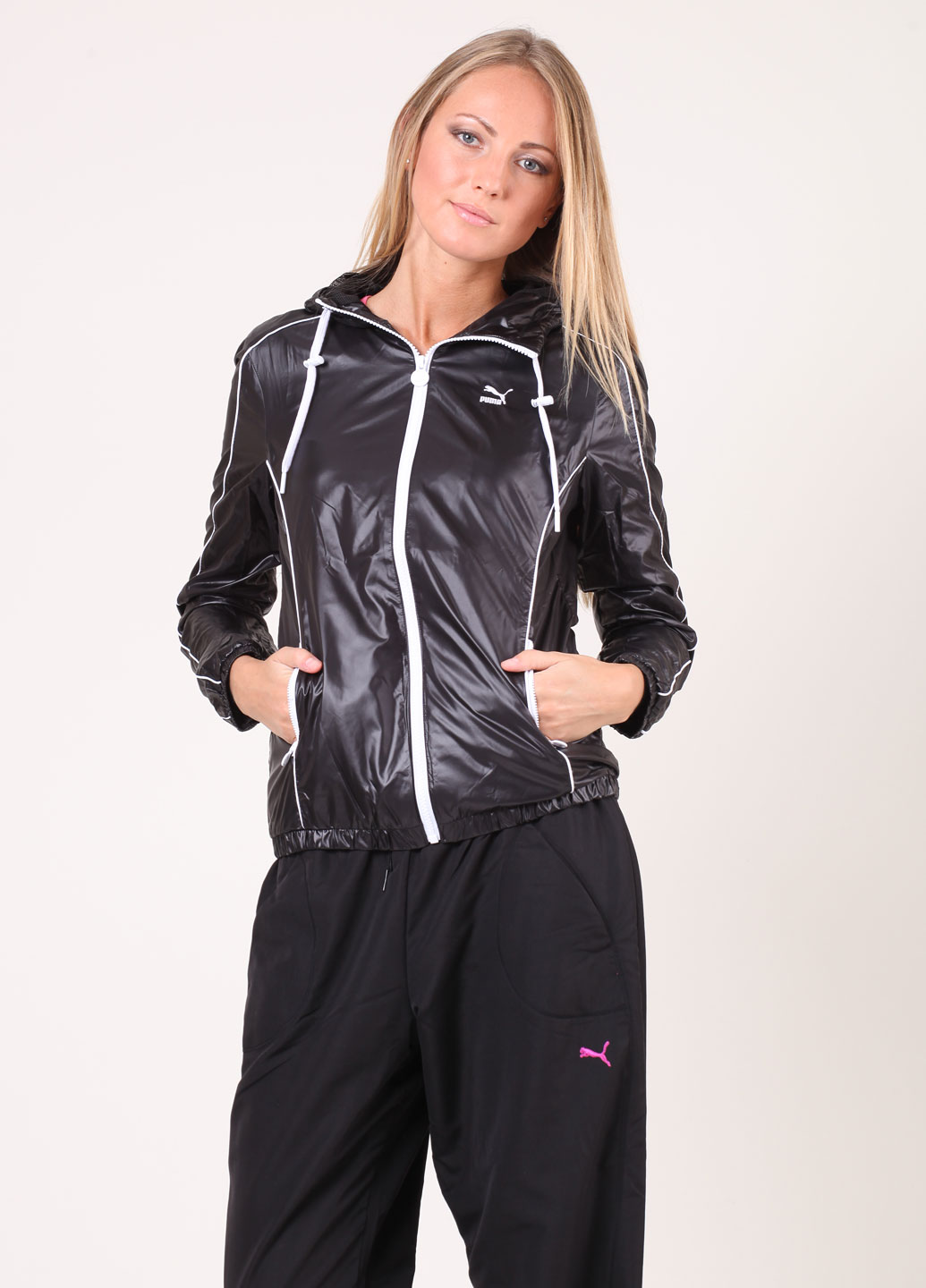 Shiny Black Puma Jacket Full View