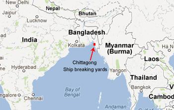 Map of Bangladesh shows Chittagong shipbreaking yards