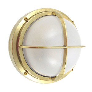 Solid Brass Bulkhead Light with Cross Bar
