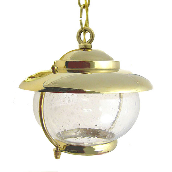 Solid Brass Garden Light with Bubble Glass