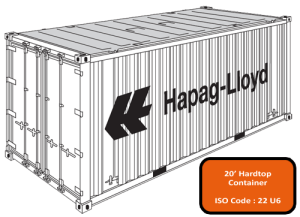 20' Open Top (Hard Top) Container
