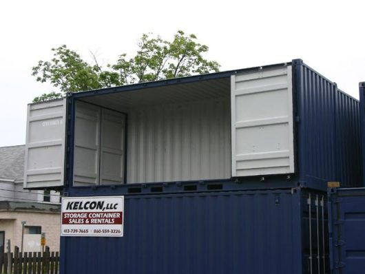 Container with doors (open) on the side that can be used to load specific cargo