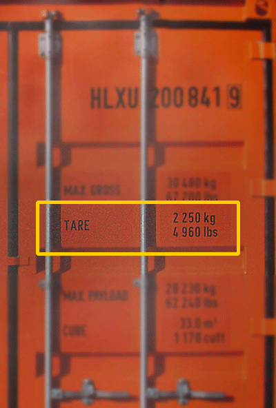 tare weight of container