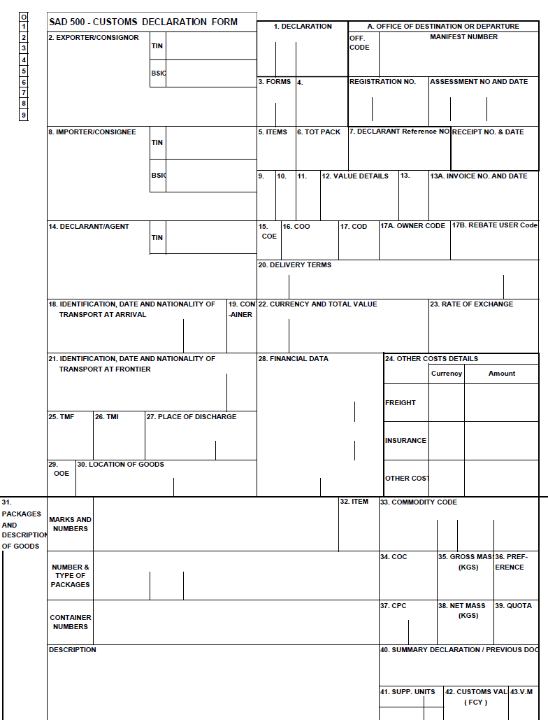 SAD500 - South African customs document
