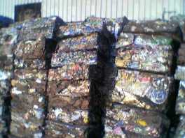 baled LMS scrap awaiting packing in a container