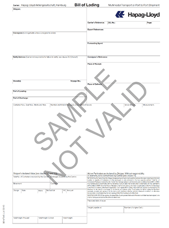 Sample container bill of lading