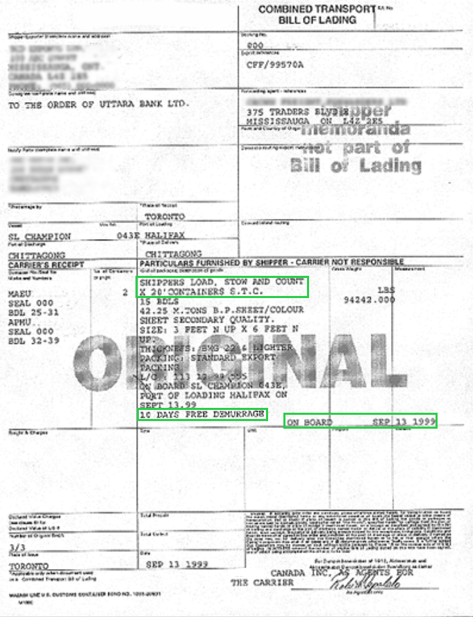 Bill Of Lading Clauses