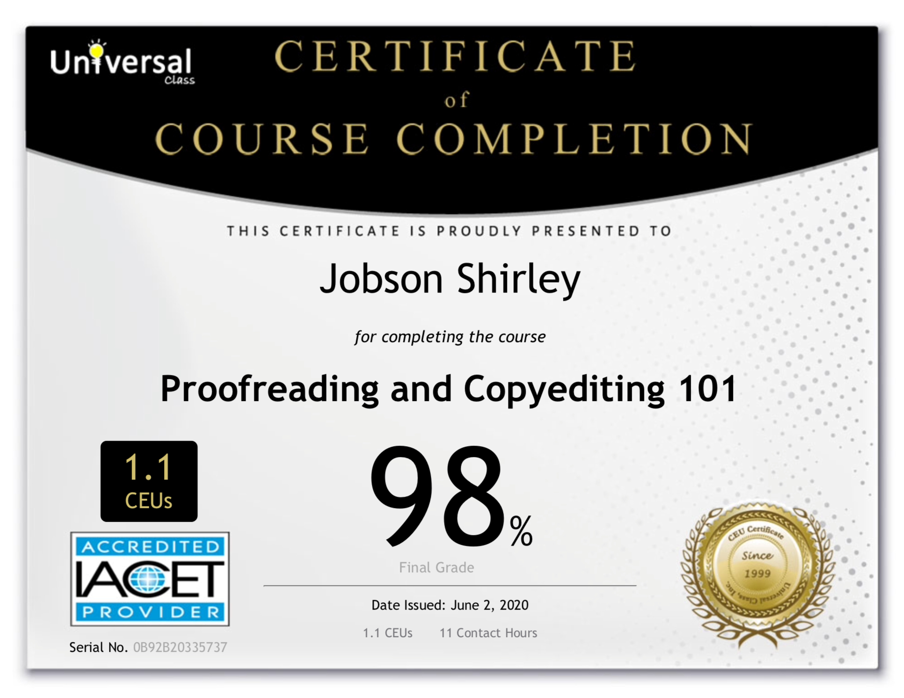 Proofreading and Copyediting Certificate - Shirley Jobson