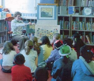 Shirley Menendez sharing her book B is for Blue Crab with students