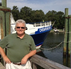 Husband Stuart in front of the ferry to Tangier Island