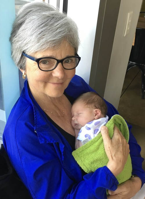 Newborn Lydia and happy grandma.