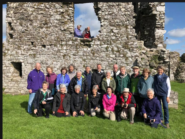 Our group of 22 pilgrims at the ruins of the monastery on the Hill of Slane, Ireland.