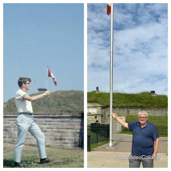 Standing in front of the Citadel. Halifax. Clowning with flags after 50 years.