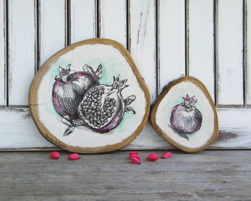 תמונת עץ עם איורי רימונים - מתנות לראש השנה